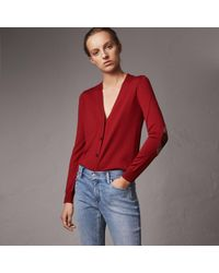 Burberry - Check Detail Merino Wool Cardigan Parade Red - Lyst