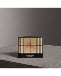 Burberry Haymarket Check And Leather International Bifold Wallet - Black