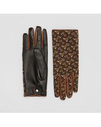 Burberry Cashmere-lined Monogram Print Lambskin Gloves - Multicolour