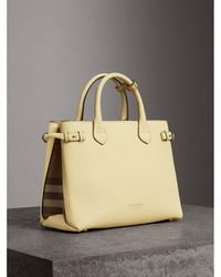 Burberry - The Medium Banner In Leather And House Check Camomile Yellow - Lyst