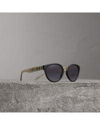 Burberry - Check Detail Cat-eye Frame Sunglasses In Black | - Lyst