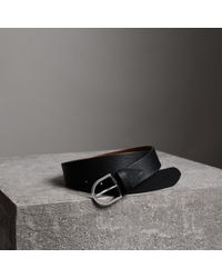 Burberry - D-shaped Buckle Grainy Leather Belt - Lyst