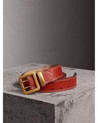 Burberry - Topstitch Detail Leather Belt - Lyst