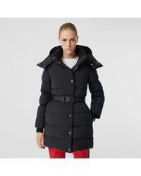 Burberry Detachable Hood Belted Puffer Coat - Black