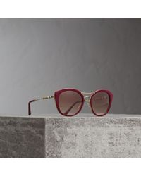 Burberry - Check Detail Round Frame Sunglasses In Burgundy | - Lyst