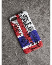 Burberry - Doodle Print Leather Iphone 7 Case - Lyst