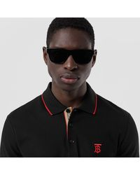 Burberry Icon Stripe Placket Piqué Polo Shirt - Black