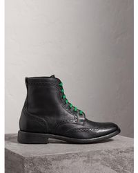 Burberry - Leather Brogue Boots With Bright Laces - Lyst