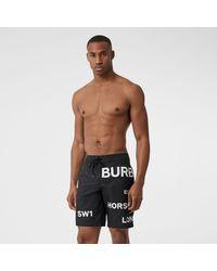Burberry Schwimmshorts mit Horseferry-Aufdruck - Schwarz