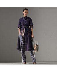 Burberry - Topstitch Detail Stretch Cotton Dress - Lyst