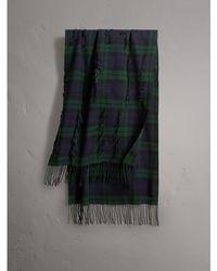 Burberry - Fil Coupé Tartan Wool Cashmere Scarf - Lyst