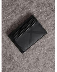 Burberry - London Check Money Clip Card Case In Charcoal/black - Men | Burberry - Lyst
