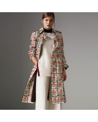 Burberry - Scribble Check Cotton Trench Coat - Lyst