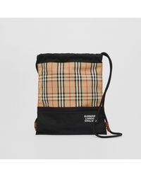 Burberry - Vintage Check Panel Drawcord Backpack - Lyst
