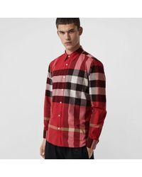 Burberry - Hemd aus Stretchbaumwolle mit Karomuster - Lyst