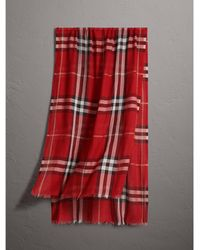 Burberry - Lightweight Check Wool And Silk Scarf - Lyst