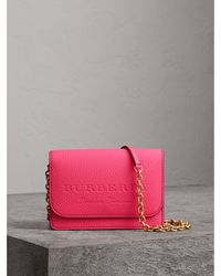 Burberry - Embossed Leather Wallet With Detachable Strap - Lyst