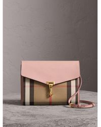 c15769d646ce Burberry - Small Leather And House Check Crossbody Bag Pale Orchid - Lyst
