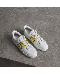 Burberry - Logo Print Leather Sneakers - Lyst