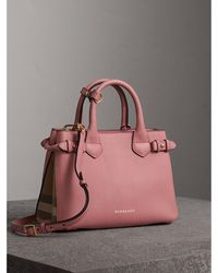 8495cf49fbd3 Burberry - The Small Banner In Leather And House Check Mauve Pink - Lyst