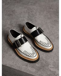 Burberry - Buckle Detail Woven-toe Leather Shoes - Lyst
