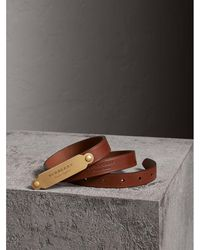 Burberry - Brass Plaque Buckle Embossed Bridle Leather Belt - Lyst