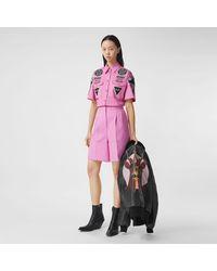 Burberry Short-sleeve Badge Appliqué Cotton Shirt - Pink