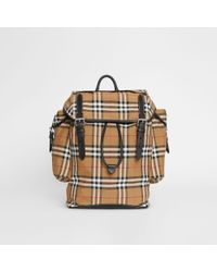 Burberry - Vintage Check And Leather Backpack - Lyst