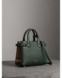 Burberry - The Medium Banner Leather And House Check Bag - Lyst