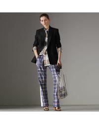 Burberry - Stripe Detail Scribble Check Silk Track Pants - Lyst
