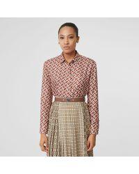 Burberry - Monogram Print Silk Oversized Shirt - Lyst