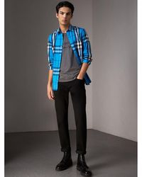 Burberry - Check Stretch Cotton Shirt Bright Blue - Lyst
