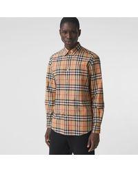 Burberry Hemd aus Baumwollpopelin mit Karomuster - Natur