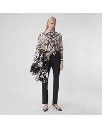 Burberry Detachable Scarf Camouflage Print Silk Oversized Shirt - Multicolour