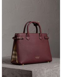 5f023c60c2b0 Burberry - The Medium Banner In Leather And House Check Mahogany Red - Lyst