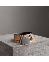 Burberry - Plaque Buckle Vintage Check Leather Belt - Lyst
