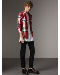 Burberry - Check Stretch Cotton Shirt Parade Red - Lyst