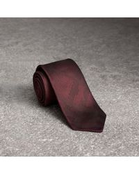 Burberry | Slim Cut Check Silk Tie Deep Claret | Lyst