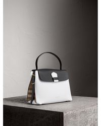 Burberry - Medium Two-tone Leather And House Check Tote - Lyst