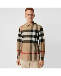 Burberry - Short-sleeve Check Stretch Cotton Shirt - Lyst