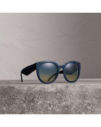 6b50e8e0b0 Lyst - Burberry Clear and Hornlook Round Frame Sunglasses in Natural