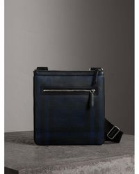 Burberry - Leather Trim London Check Crossbody Bag Navy/black - Lyst