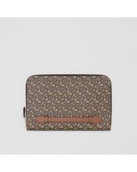 Burberry - Pochette zippée en toile écologique et cuir Monogram - Lyst