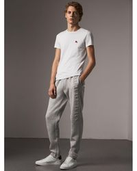 Burberry - Embroidered Jersey Sweatpants - Lyst