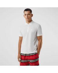 Burberry Poloshirt aus Baumwollpiqué mit Monogrammmotiv - Weiß