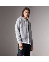 Burberry - Check Detail Jersey Hooded Top - Lyst