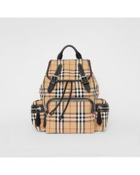 4a77bf034f95 Burberry - The Medium Rucksack In Vintage Check Cotton Canvas - Lyst