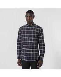 Burberry Hemd aus Stretchbaumwolle mit kleinteiligem Karomuster - Blau