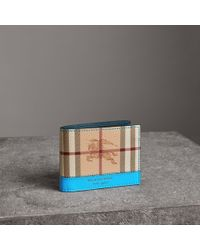Burberry - Haymarket Check And Leather Bifold Wallet - Lyst