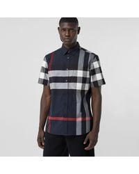 Burberry Short-sleeve Check Stretch Cotton Poplin Shirt - Blue